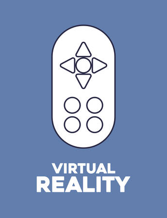 virtual reality design with control icon over blue background, colorful design. vector illustration