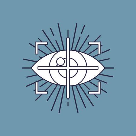 conception de réalité virtuelle avec symbole de suivi des yeux sur fond bleu, design coloré. illustration vectorielle