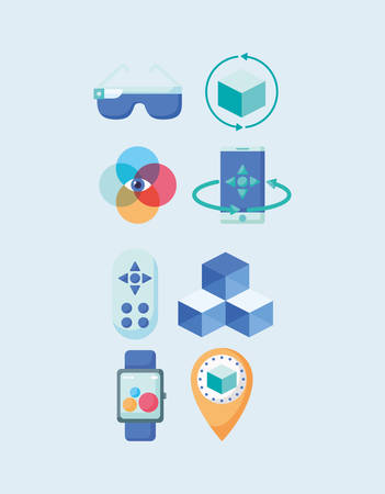 jeu d'icônes du concept de réalité virtuelle sur fond bleu, design coloré, illustration vectorielle