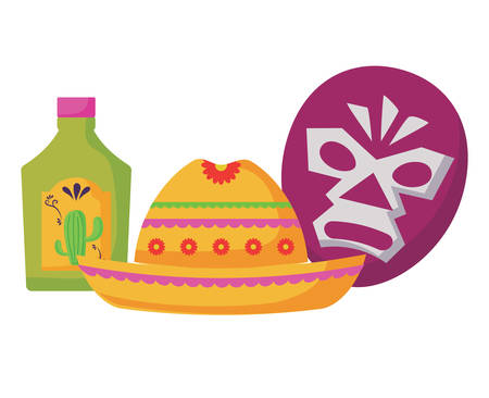 wrestler mask with mexican hat and tequila bottle over white background, colorful design.  vector illustration