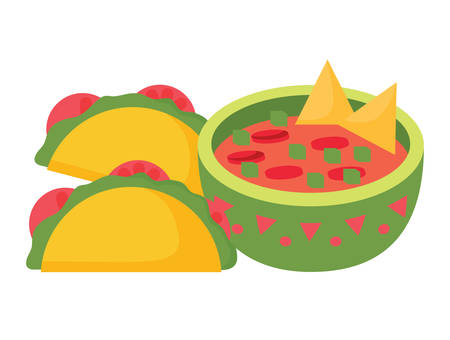 Mexican tacos and sauce bowl over white background, colorful design. vector illustration