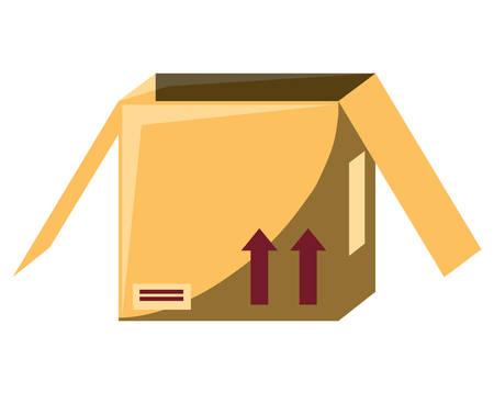 opened carton box icon over white background, colorful design. vector illustration Illustration