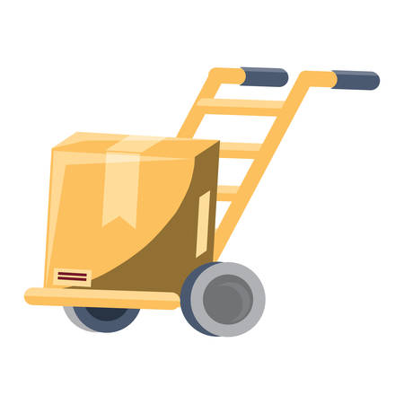 handcart with carton box over white background, colorful design. vector illustration Banque d'images - 102024724