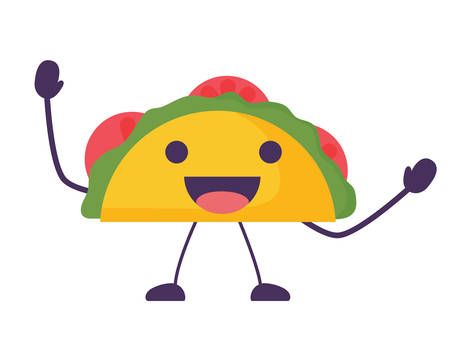 taco icon over white background, colorful design. vector illustration
