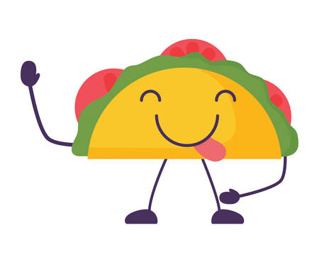 taco winking an eye over white background, vector illustration