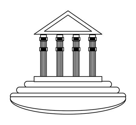ancient greek building over white background, vector illustration