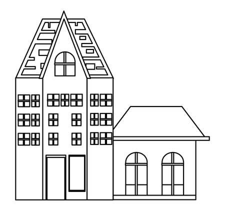 Old Traditional German Building icon over white background, vector illustration Illusztráció