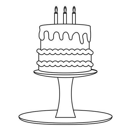 birthday cake on cake stand over white background, vector illustration