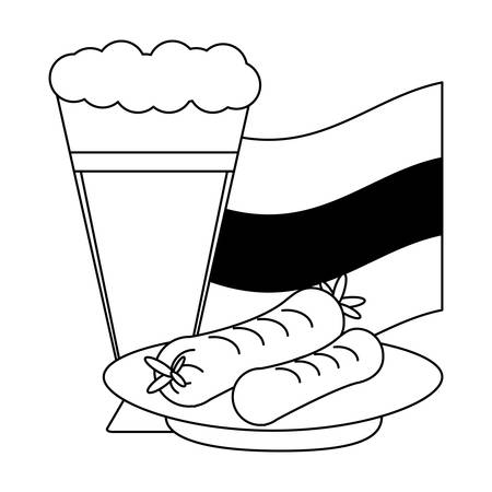german beer and sausages over white background, vector illustration