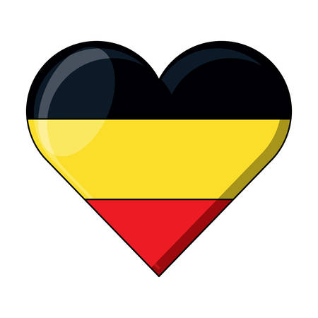 german flag in heart shape over white background, vector illustration