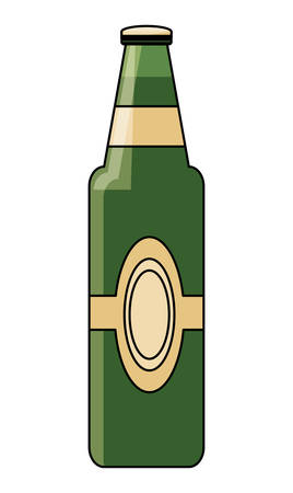 german beer bottle over white background, vector illustration
