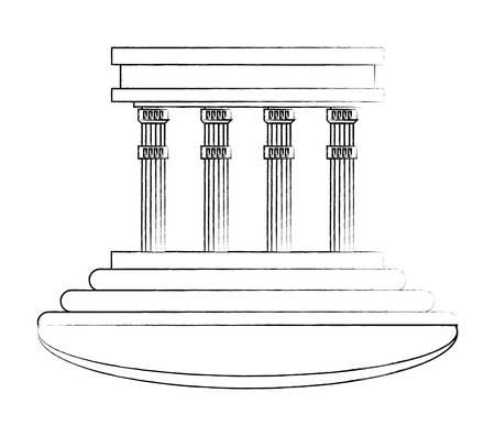 gebouw met pijlers op witte achtergrond, vector illustratie