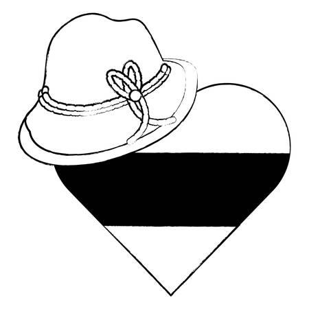Alpine hat and german flag in heart shape over white background, vector illustration Illusztráció
