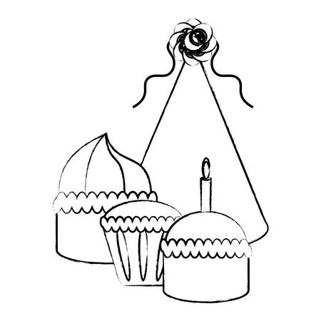 party hat and birthday cakes over white background, vector illustration