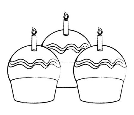 birthday cupcakes with candles over white background, vector illustration Illustration