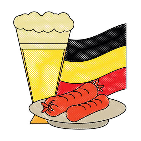 german beer and sausages over white background, vector illustration 免版税图像 - 102076911