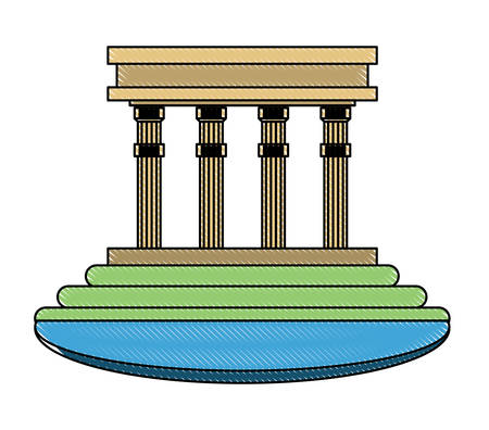 building with pillars over white background, colorful design. vector illustration