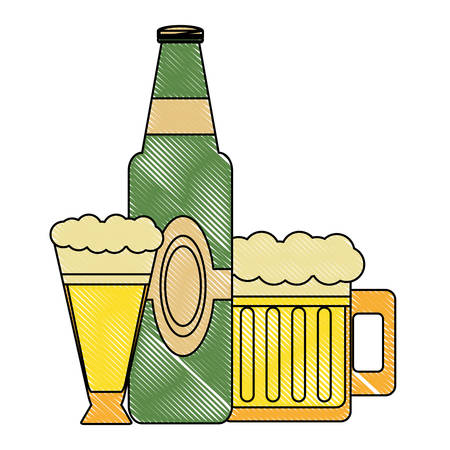 german beer bottle and mugs over white background, vector illustration