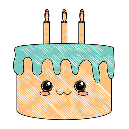 Cute birthday cake with candles over white background, colorful design. vector illustration