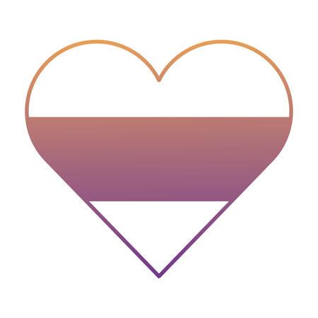 german flag in heart shape over white background, vector illustration