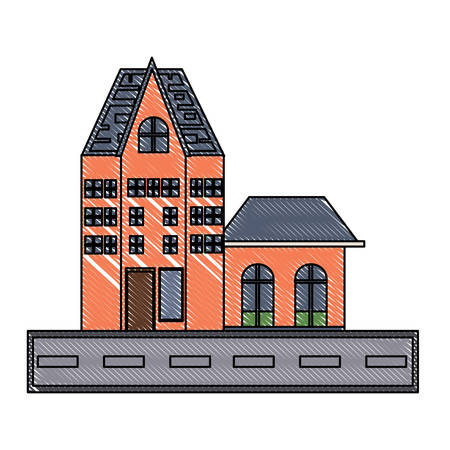 Old Traditional German Building icon over white background, colorful desing.  vector illustration
