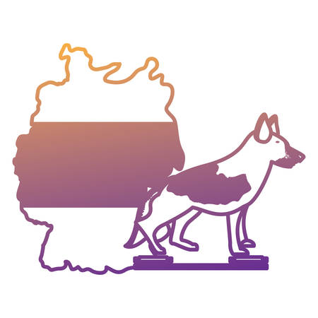 germany map and german shepherd over white background, vector illustration