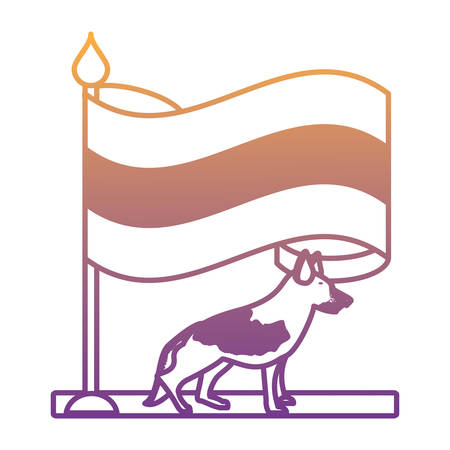 germany flag and german shepherd over white background, vector illustration Vettoriali