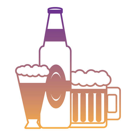 german beer bottle and mugs over white background, vector illustration