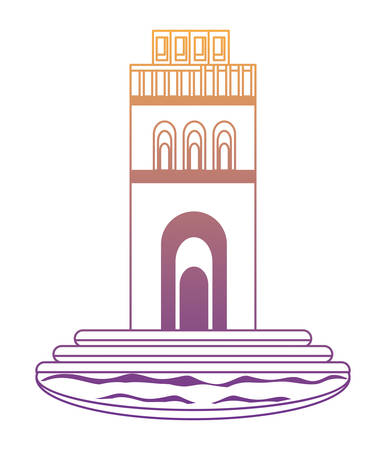 saint pierre cathedral tower icon over white background, vector illustration Çizim