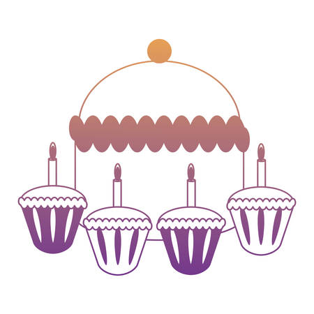 birthday cake and cupcakes with candles  over white background, vector illustration