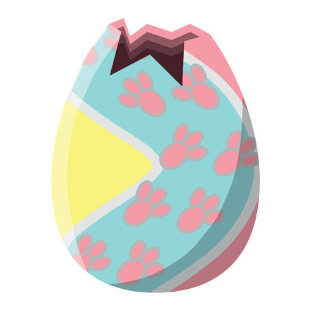 easter egg with bunny footprints design over white background, vector illustration Ilustrace