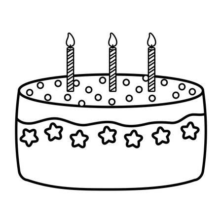 Sweet Birthday Cake icon over white background, vector illustration