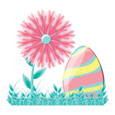 easter egg in the grass with a beautiful flowers over white background, vector illustration