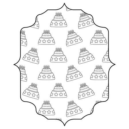 arabic frame with cake with candles pattern over white background, vector illustration Illustration