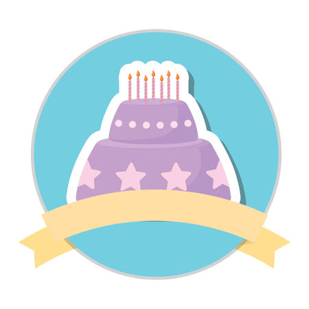 emblem with birthday cake and decorative ribbon over white background, colorful design. vector illustration