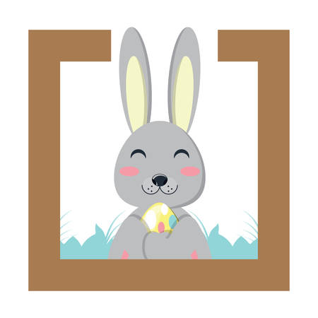 decorative frame with cute rabbit adn easter eggs over white background, vector illustration