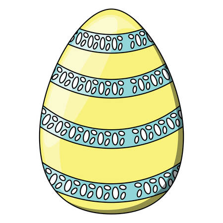 striped easter egg icon over white background, colorful design. vector illustration Ilustrace