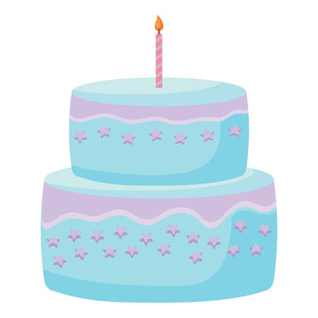 Sweet Birthday Cake icon over white background, colorful design. vector illustration