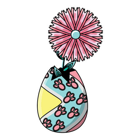 broken easter egg with a beautiful flower over white background, vector illustration