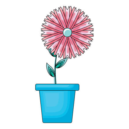 beautiful flower in a flowerpot icon over white background, colorful design.  vector illustration