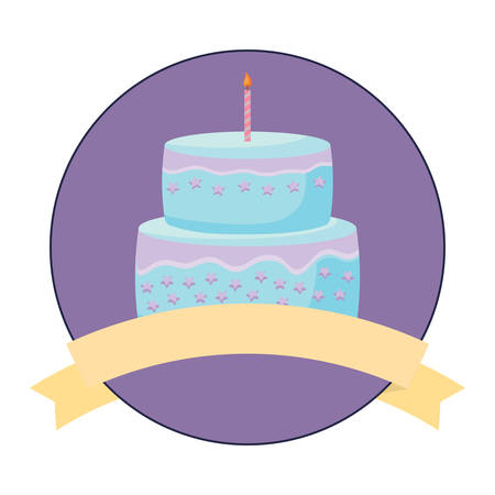 emblem with decorative ribbon and birthday cake with candles over white background, colorful design. vector illustration