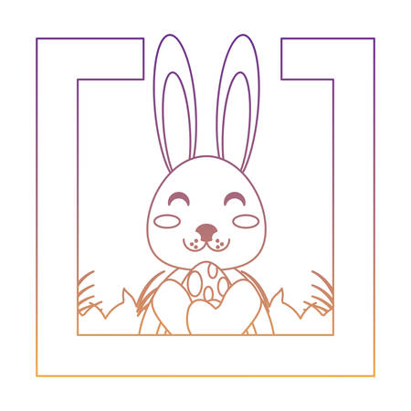 decorative frame with cute rabbit adn easter eggs over white background, vector illustration Stockfoto - 102070634