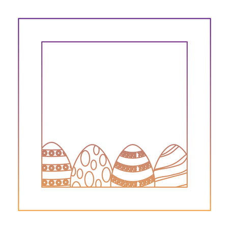 decorative frame with easter eggs over white background, vector illustration