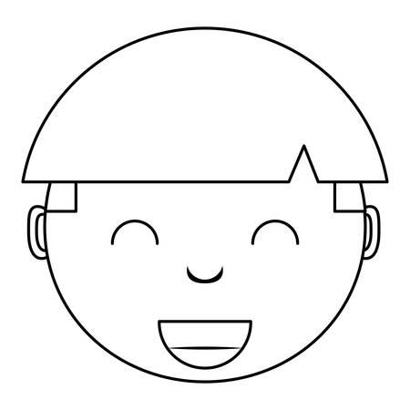 cartoon girl smiling over white background, vector illustration