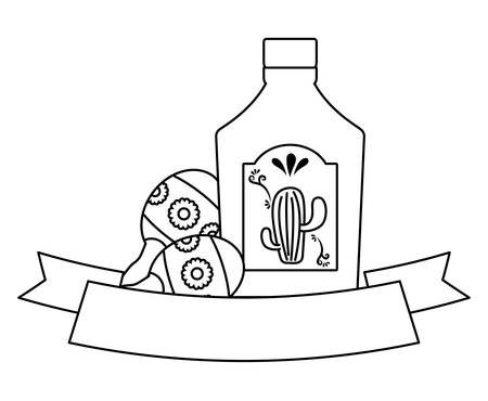 decorative ribbon with tequila bottle and maracas over white background, vector illustration
