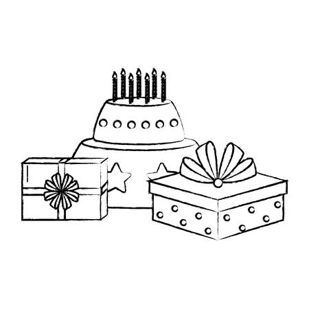 Happy birthday design with cake and gift boxes over white background, vector illustration