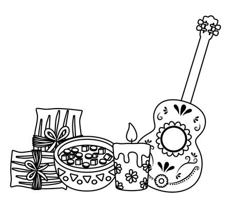 Mexican tamales with candles and guitar over white background, vector illustration