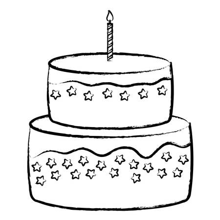 Sweet Birthday Cake icon over white background, vector illustration