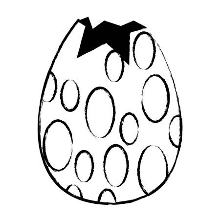 broken easter egg with dots over white background, vector illustration Ilustrace
