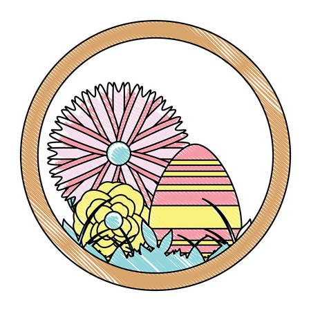 decorative circular frame with easter eggs and beautiful flowers  over white background, vector illustration